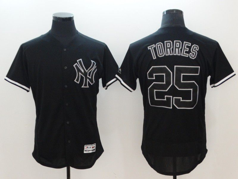 Men New York Yankees 25 Torres Black Elite MLB Jerseys